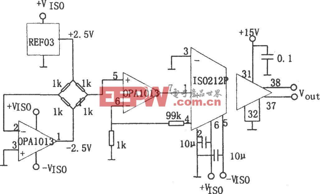 电桥传感隔离放大器(ISO212、OPA1013)