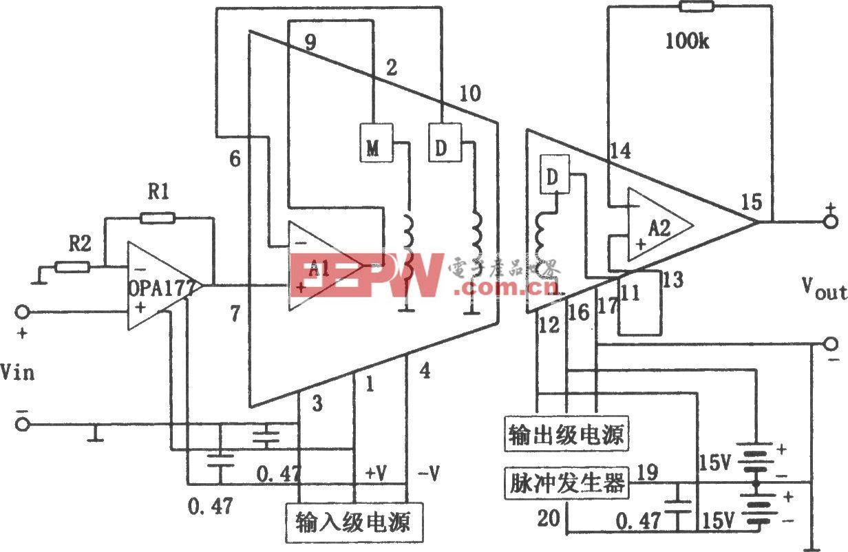 隔离放大器3656构成的低电平信号隔离放大器