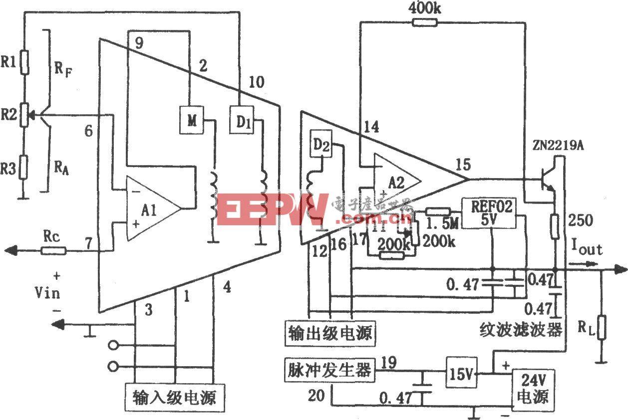 隔离放大器3656构成的任意输入电压转换为4~20mA的V/I转换器