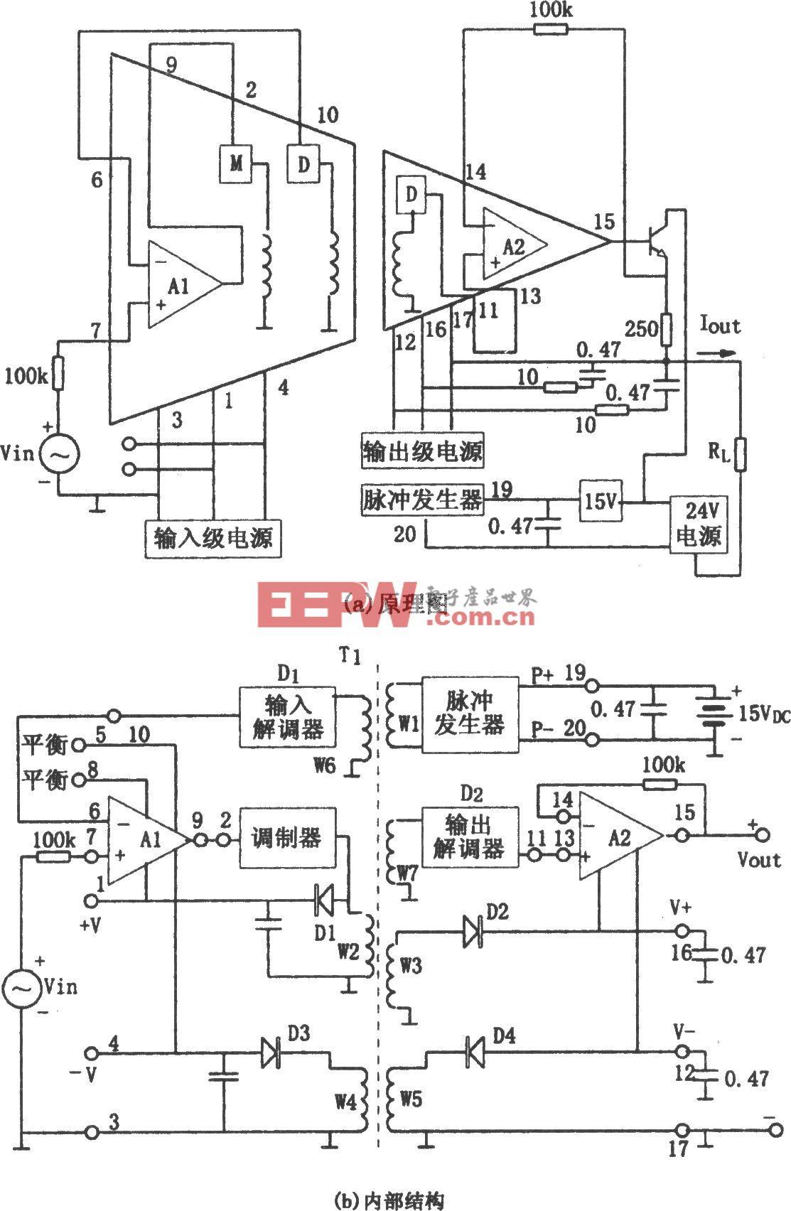 3656隔离放大器构成的1~5V/4~20mA隔离转换器