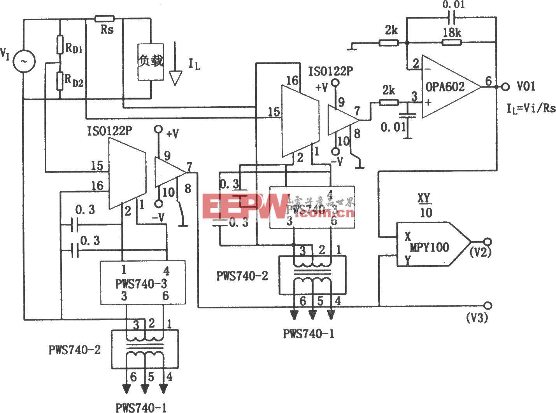 动力线负载V、I和P的隔离检测电路(OPA602)