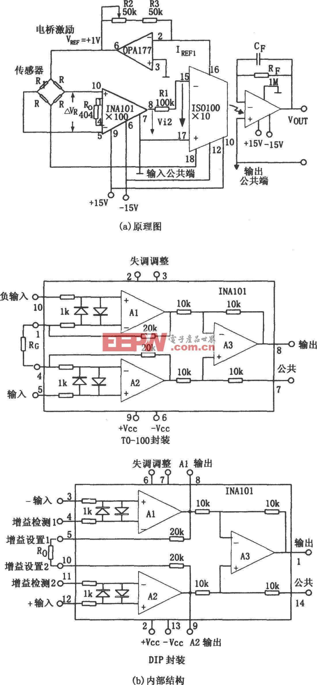 ISO101构成的精密电桥隔离放大器