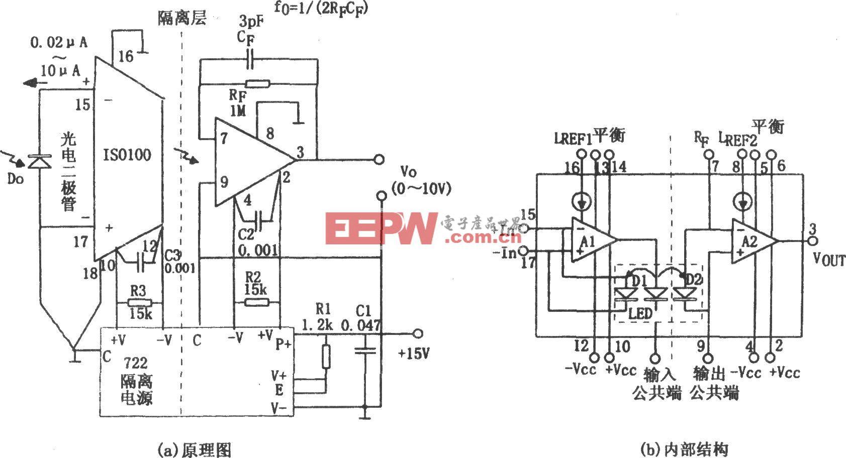 ISO100构成的光电隔离放大器