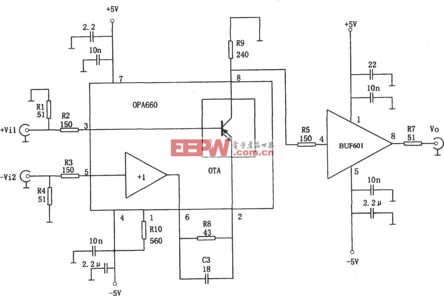 400MHz差动放大器(OPA660、BUF601)