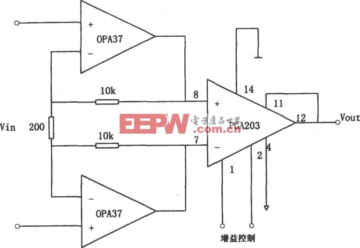 OPA37构成的增益可编程低噪声差动放大器