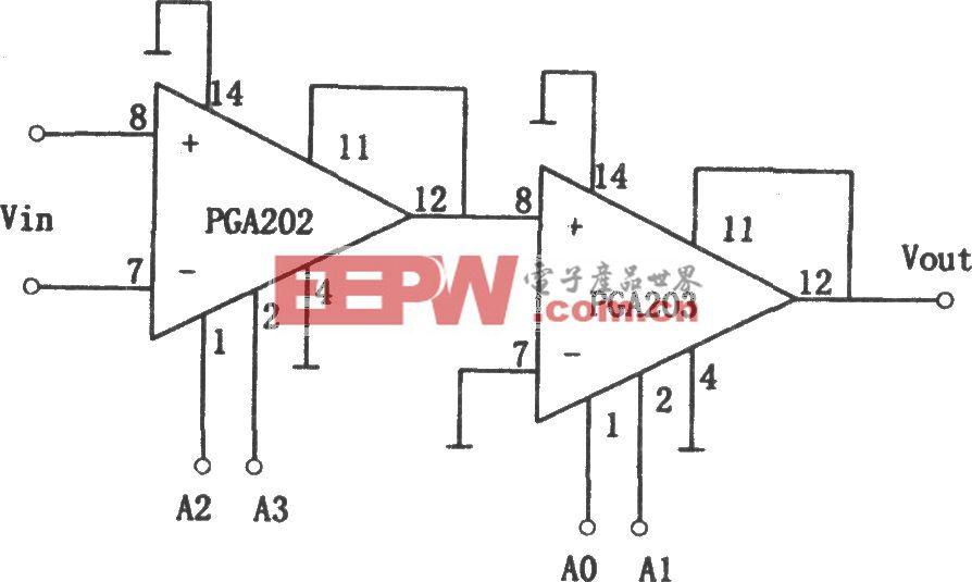 PGA203构成的增益1~8000倍可编程放大器