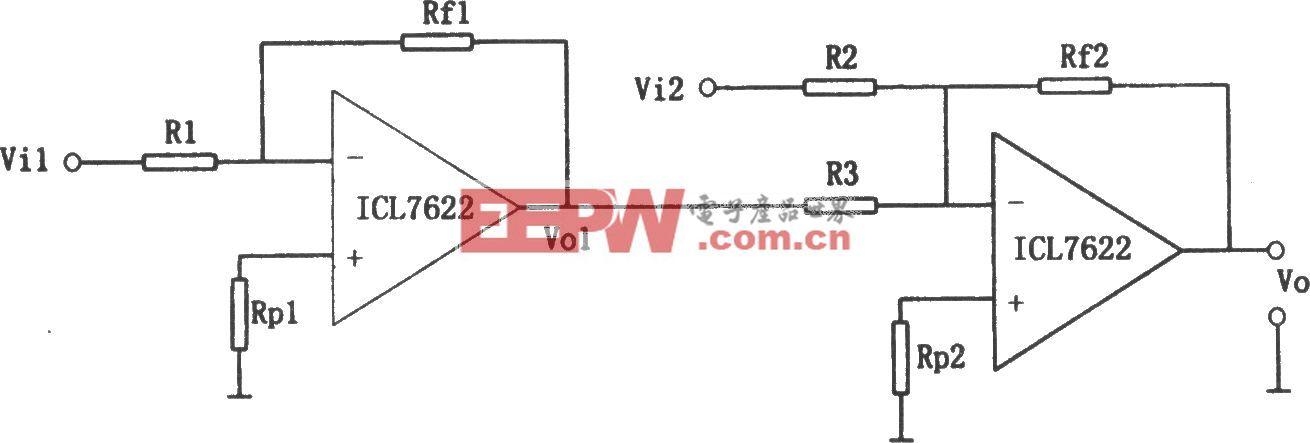 ICL7622构成的双运放基本减法电路