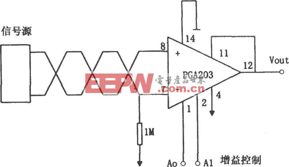 PGA203构成的浮动信号源增益可编程放大器