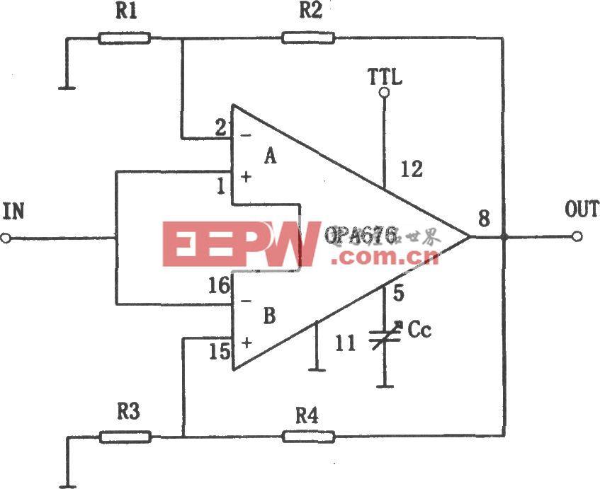 OPA676构成的增益可编程放大电路