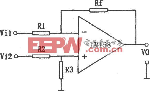 LM158构成的单运放基本减法电路