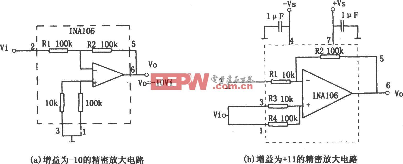 增益为-10和 11的精密放大器(INA106)
