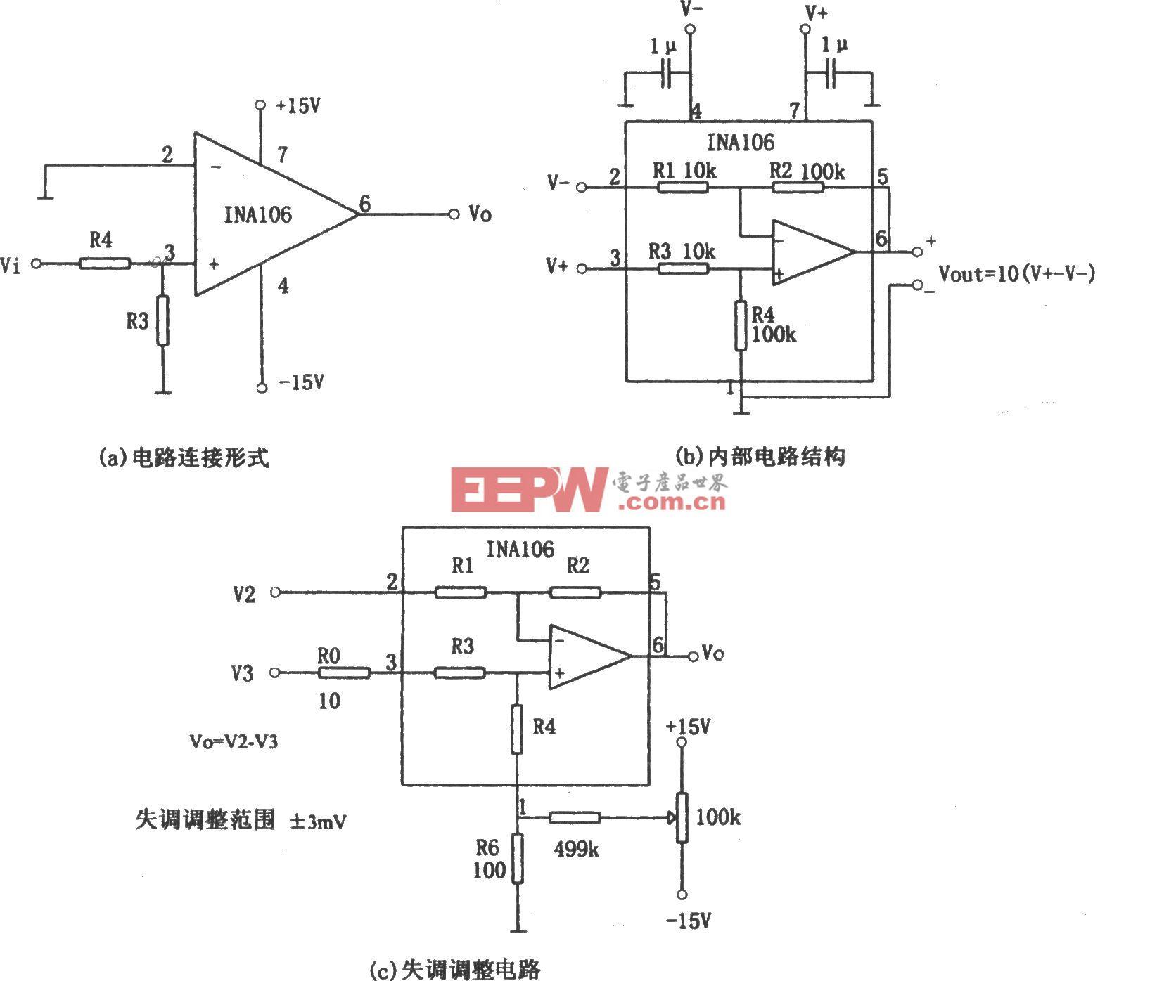 输入信号可达±100V电压跟随器(INA106)