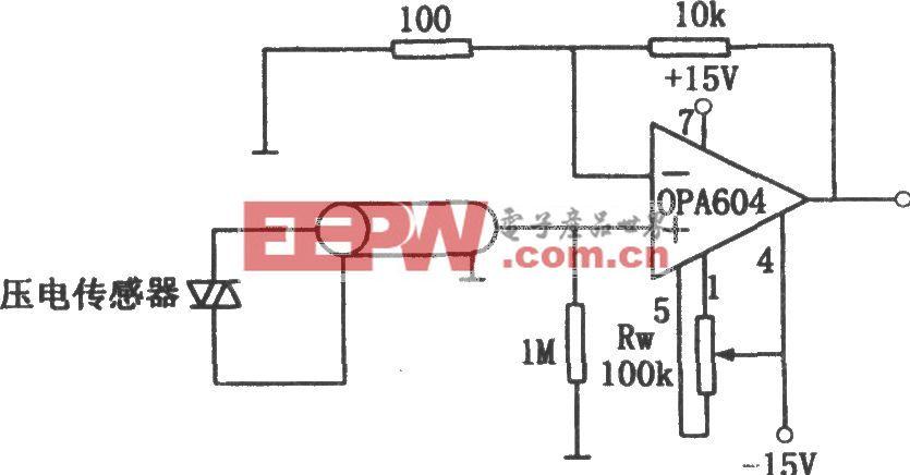 压电传感器用高保真高阻抗放大器(OPA604)