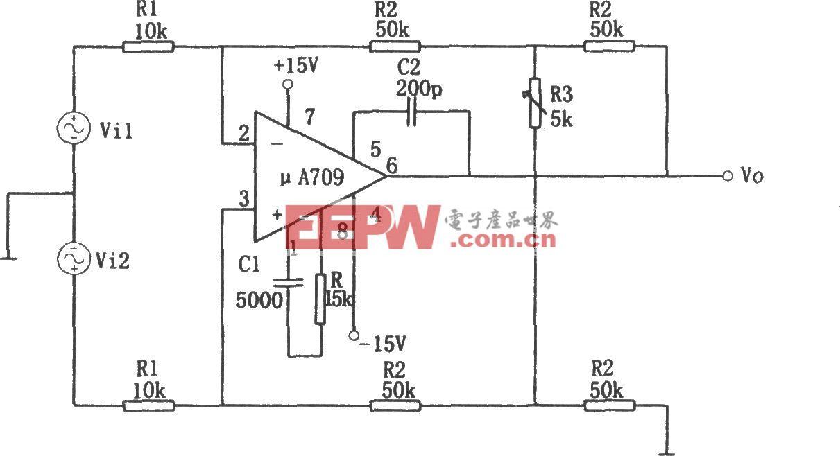 μA709构成的可变增益差动放大电路