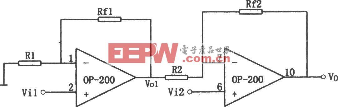 OP200构成的高输入阻抗同相差动放大电路