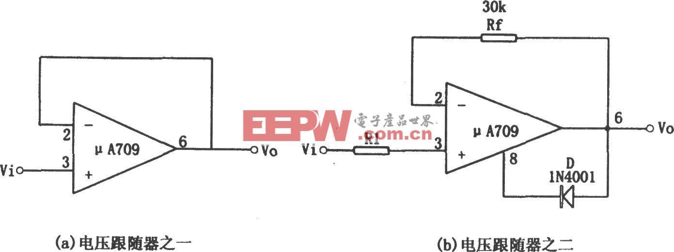 μA709构成的电压跟随器