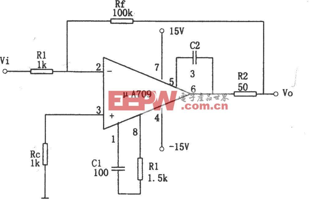 μA709构成的基本反相放大电路