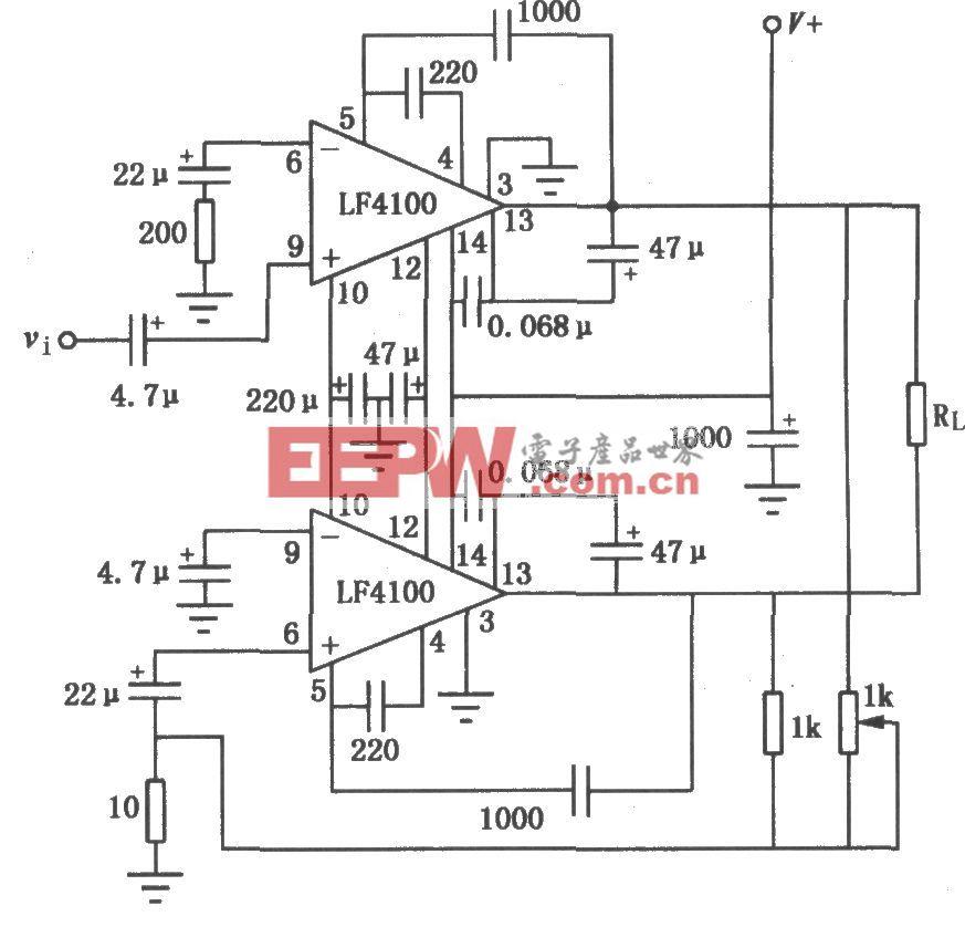 用LF4100构成的BTL功率放大电路