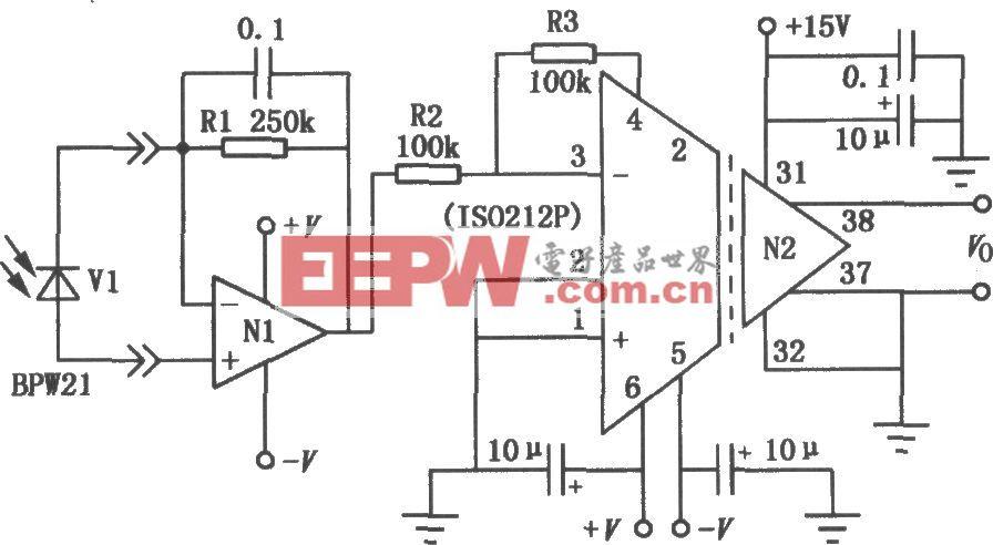 ISO212P组成的光电二极管隔离放大电路