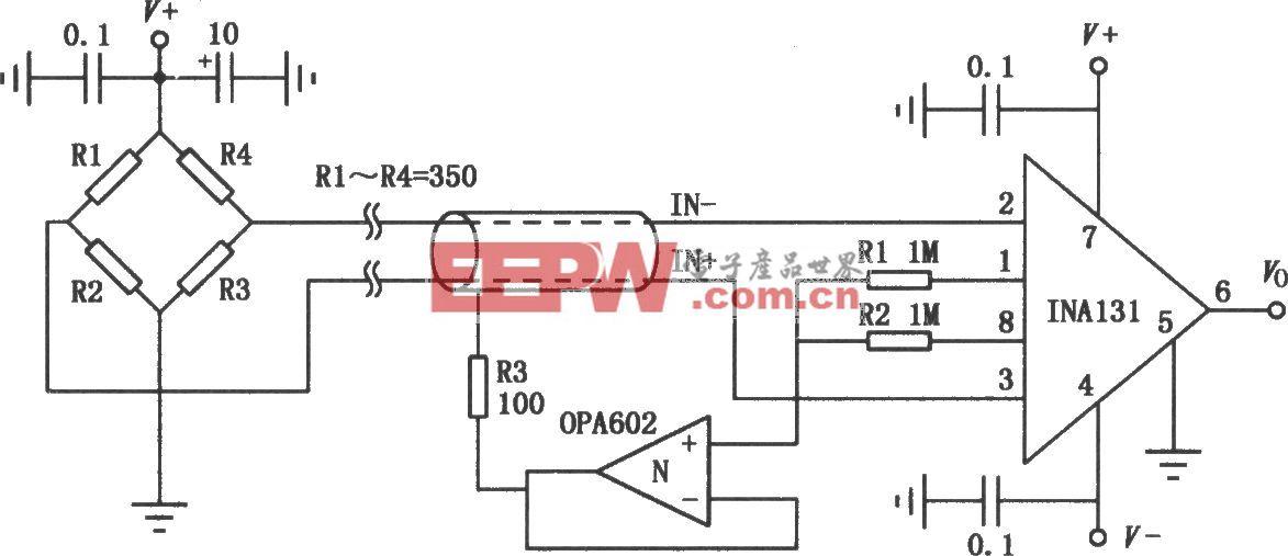 INA131组成的高精度测量放大电路