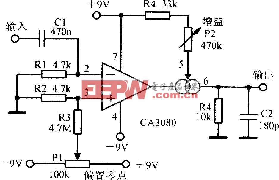 CA3080可变增益放大电路