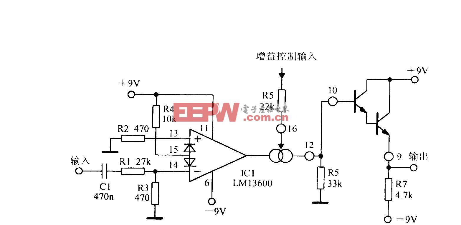 LMl3600可变增益放大电路