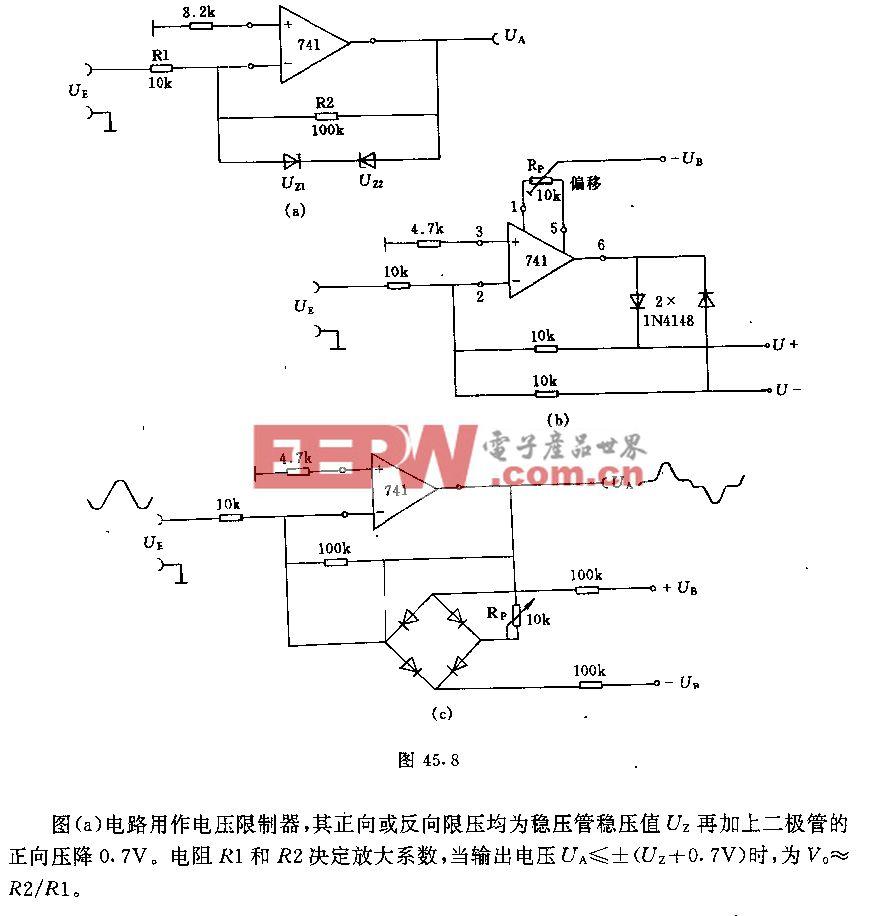 采用运算放大器的限制器和整流器电路