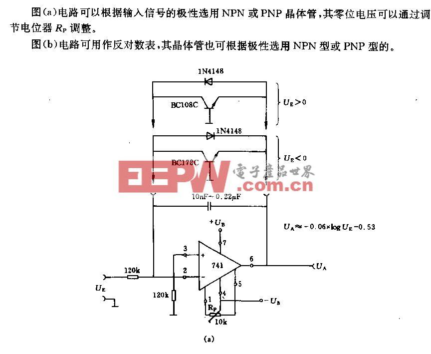 采用运算放大器的对数表电路