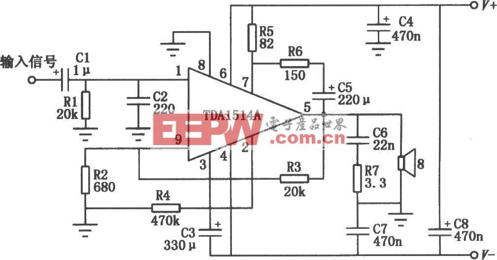 50W高保真集成音频功放电路(TDA1514A)