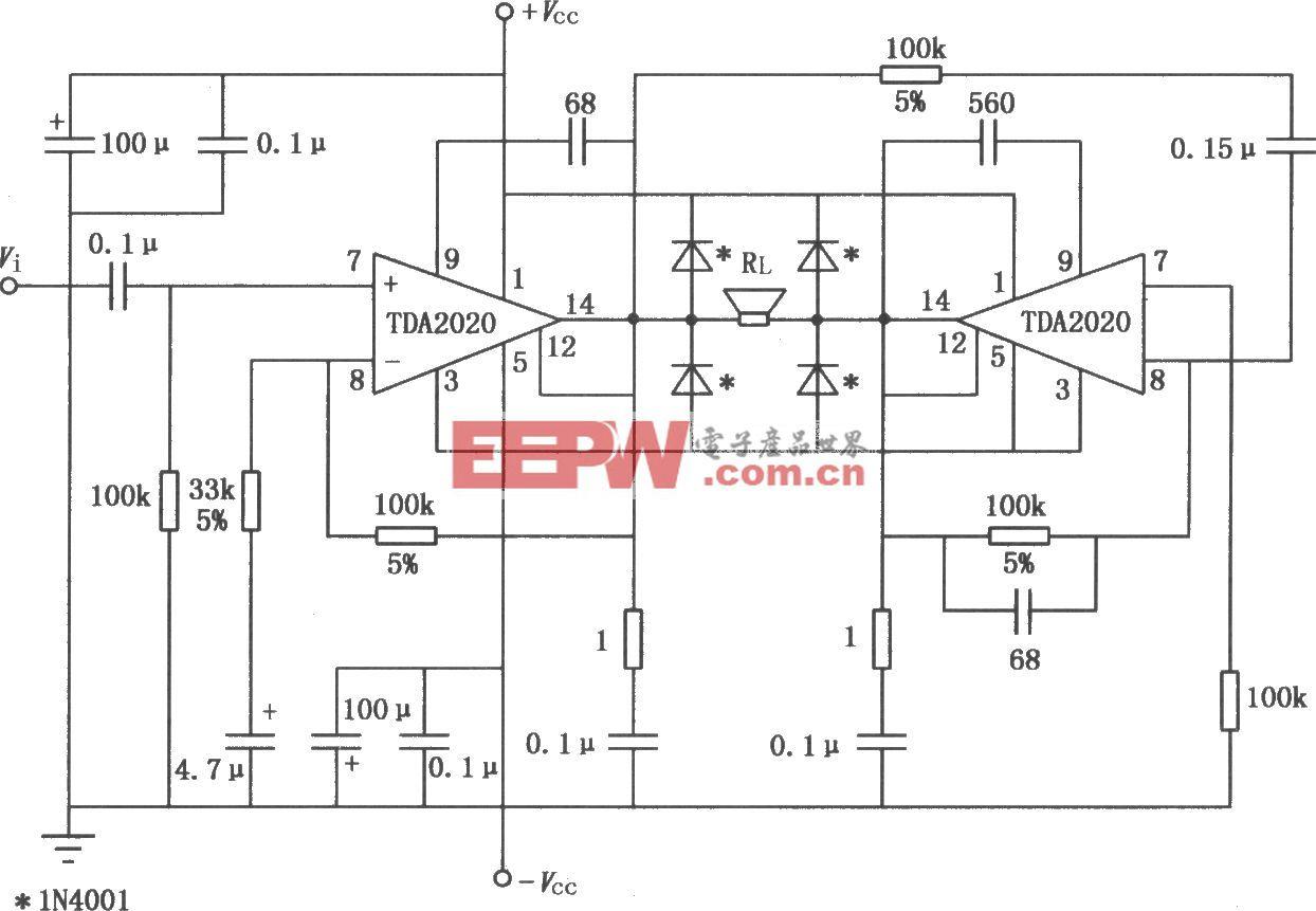 20W Hi―Fi音频功率放大器TDA2020的BTL应用电路