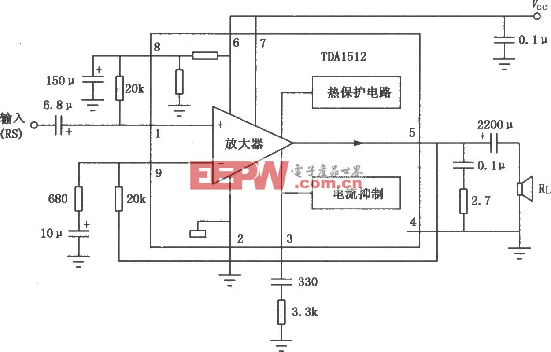 TDA1512/1512Q 20WHi-Fi音频功率放大电路