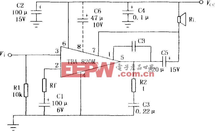 TBA820M 2W音频功率放大电路