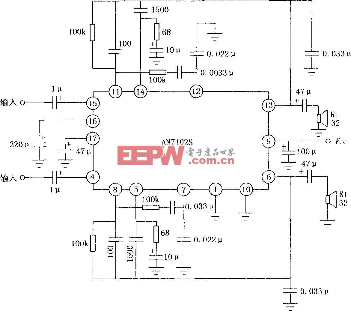 AN102S双声道音频功率放大器的典型应用电路