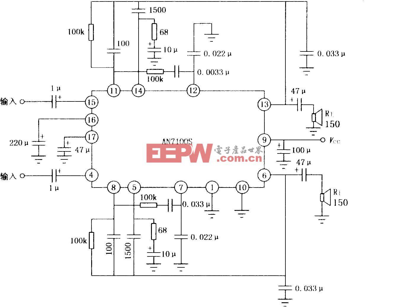 AN7100S双声道音频功率放大电路