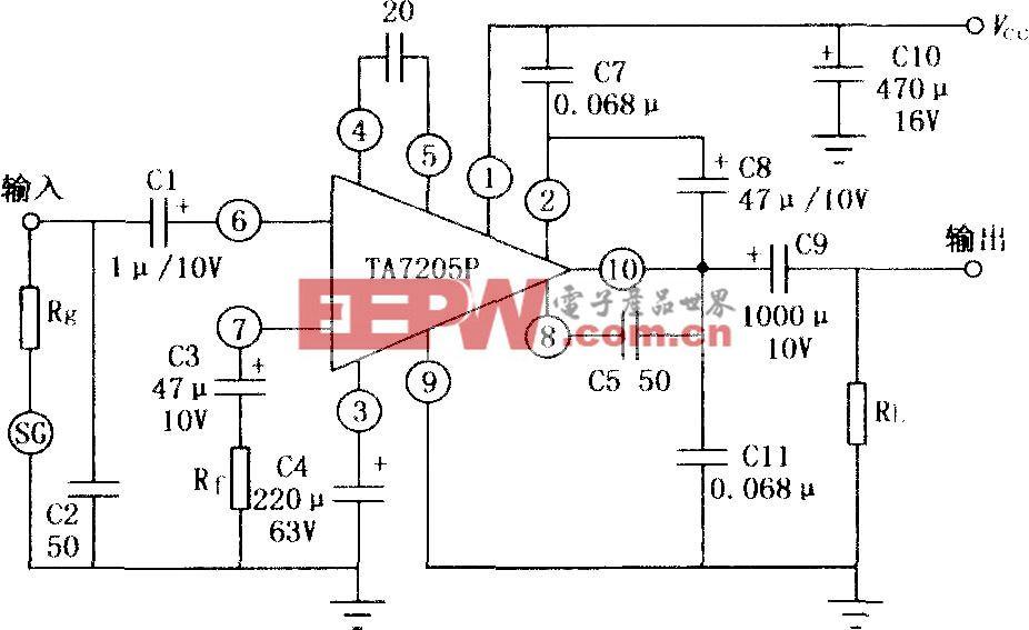 TA7205P 5.8W音频功率放大电路