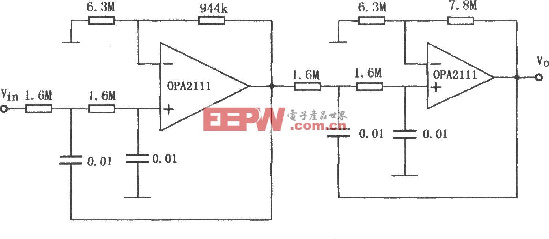 OPA2111构成的10Hz四阶巴特沃斯低通滤波器