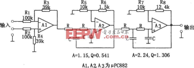 用相同参数构成的每倍频程24dB低通滤波器(μPC882)