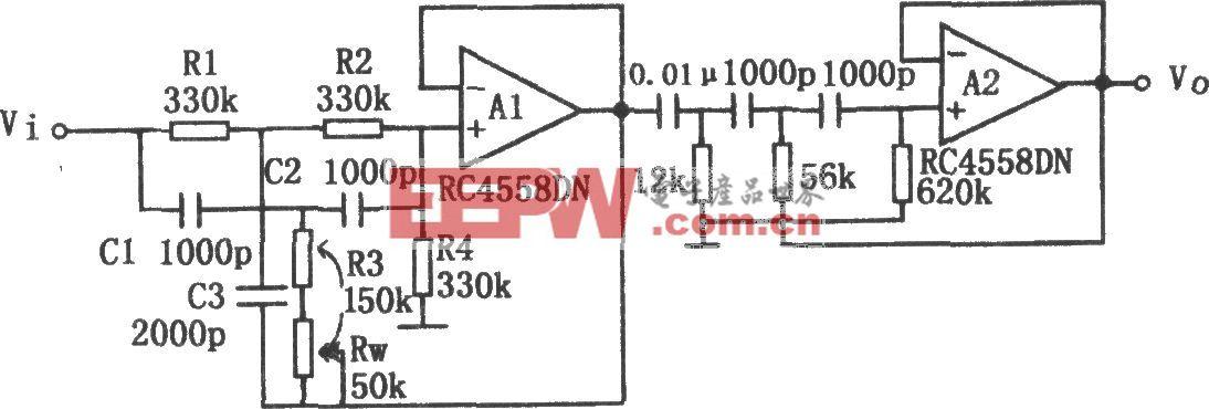 具有锐截止特性的有源高通滤波器(RC4558DN)