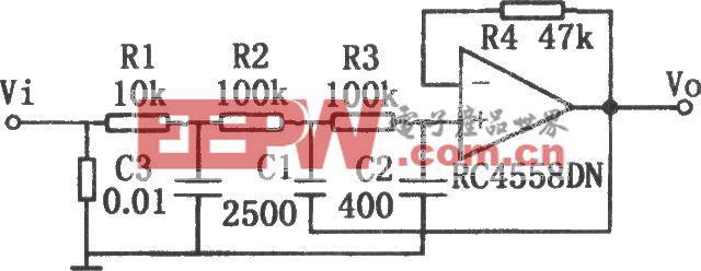 每倍频程衰减-18dB的有源低通滤波器(RC4558DN)