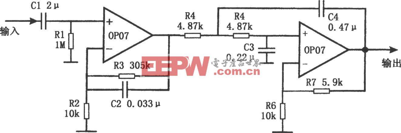 带宽0.1~10Hz的滤波器(OP07)