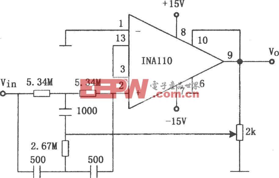 INA110构成的60Hz输入陷波滤波器