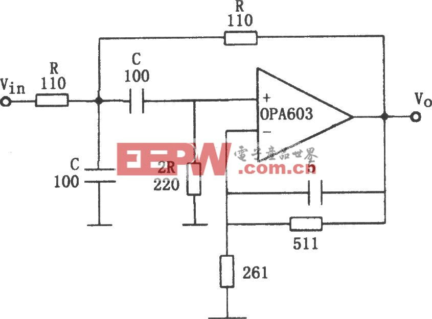 OPA603构成的10MHz带通滤波器
