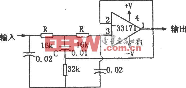MC33171构成的陷波器