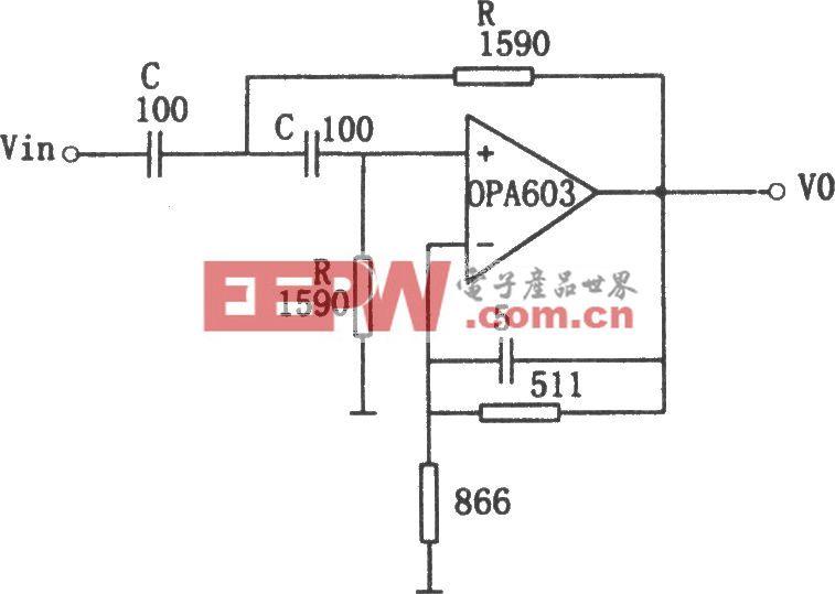 OPA603構成的1MHz高通濾波器