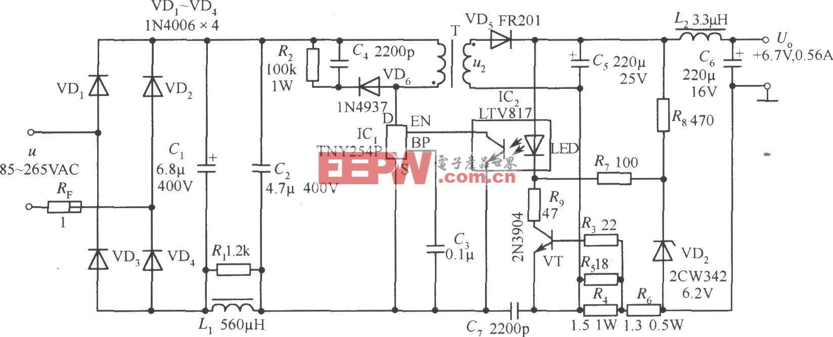 TNY254P构成的 6.7V、0.56A手机电池恒流充电器电路
