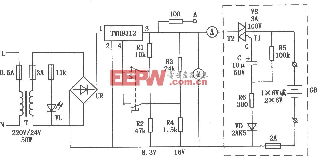 TWH9312构成的密封式铅酸蓄电池充电电路