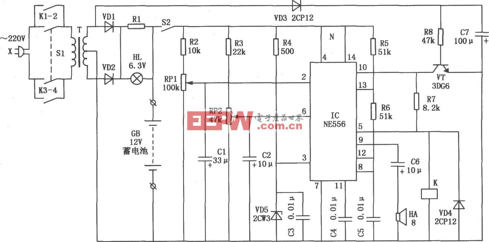 NE556构成的发电机启动蓄电池的全自动监控电路