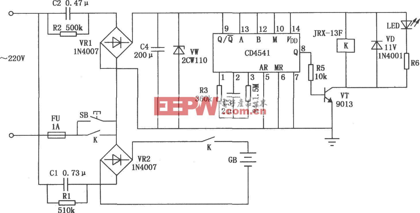 CD4541构成的0.1C5A标准镉镍电池充电电路
