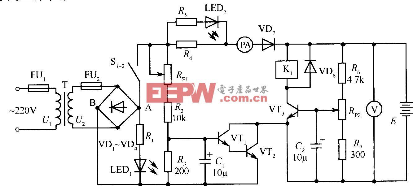 蓄电池自动充电器原理图