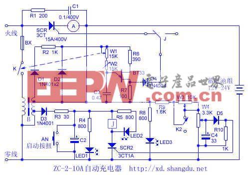 ZC-2-10A 12v24v自动充电器电路